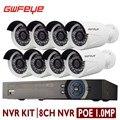 Canal 8CH 3.0MP GWFEYE Mega Pixel CCTV Kit NVR POE Sistema de segurança Com 8 PCS 1.0 Mega Pixel IP POE À Prova D' Água câmeras