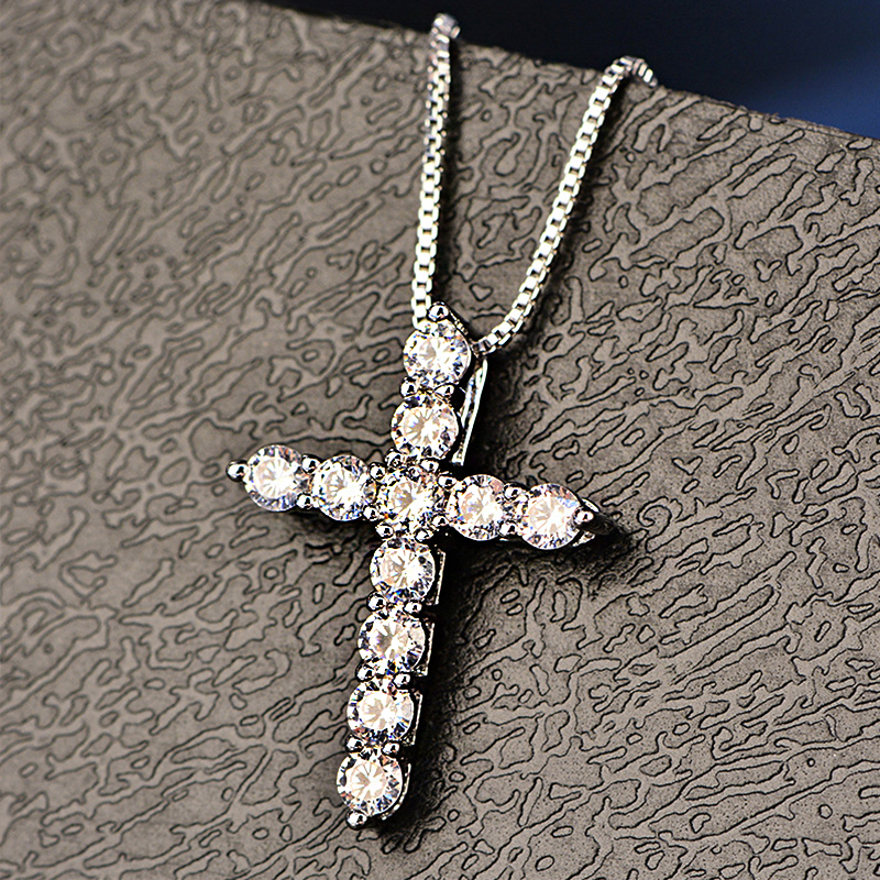 HTB1ZH6xFY5YBuNjSspoq6zeNFXa1 - Lucky Female Cross Crystal Pendants Silver Color Chain Necklaces Shiny Zirconia Choker Necklaces Fashion Jewelry Gifts For Women