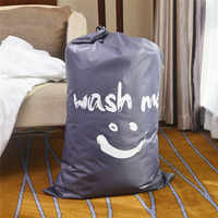 HOT SMILE wash me Laundry Basket Foldable Bath Hamper Dirty Clothes Drawstring Storage Bags Bathroom Rack Clothes Organizer