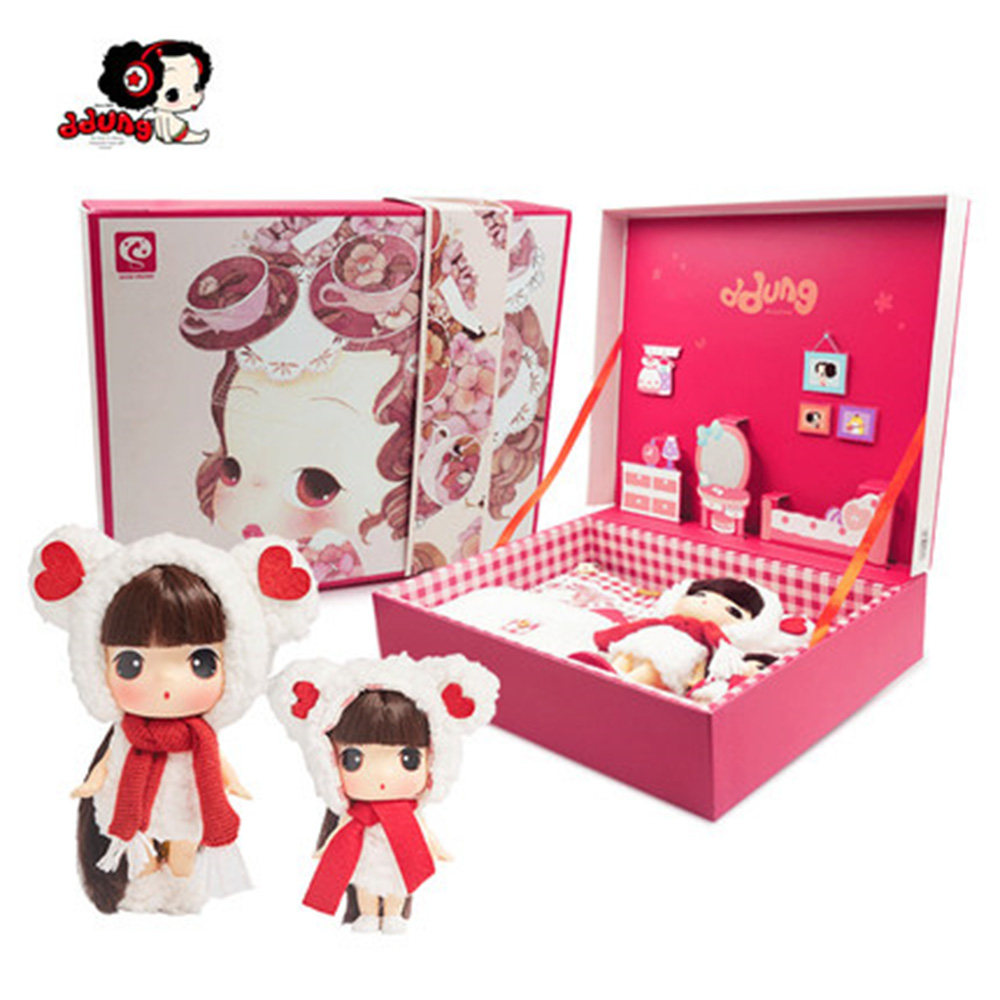 Ddung Doll Genuine Korean Gift Box Set 18cm 9cm Dressing Dolls BJD Lovely Baby Girl Classic