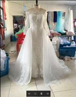 Elegant Long Sleeve Detachable Wedding Dresses Off Shoulder Lace Bridal Gowns with Removable Skirt Vestido De Noiva