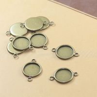 12mm 500pcs Copper Antique Bronze Blank Pendant Trays Bases Cameo Cabochon Setting for Glass/Stickers