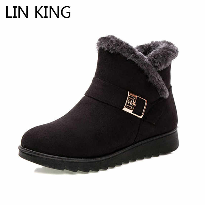 LIN KING Big Size Fashion Buckle Women Short Boots Warm Plush Wedges Snow Boots Soft Sole Winter Outdoor Ankle Botas For Mother
