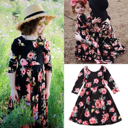 Модные женские платья для мамы и дочки; Стильные Вечерние Платья с цветочным принтом; Летние Вечерние Платья-макси; маленькая Большая одежда