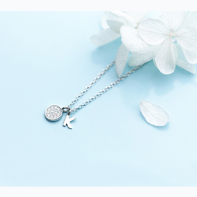 MloveAcc 100% 925 Sterling Silver Round Disc and Letter K Charm Pendant  Necklaces for Women Necklace Choker