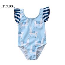 Summer Kid Baby Girls Alpaca Striped Printed Bikini Set Child Girl Ruffles Sleeve Swimsuit Swimwear Bathing Swimsuit Beachwear