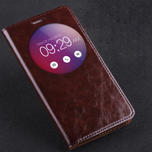 """Hot!!! For ASUS Zenfone 2 5.5"""" ZE551ML High Quality Genuine Leather Smart Cover Case Window Luxury Flip Stand Mobile Phone Bag"""