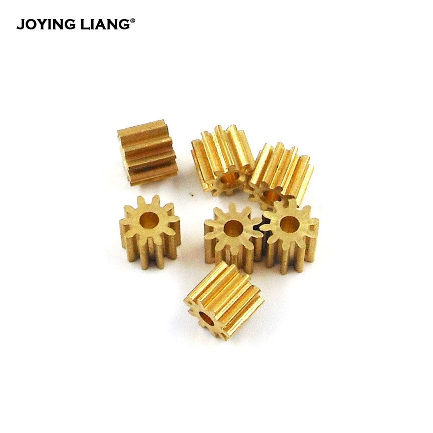 Motor Main Shaft 10T Spindle Metal Brass 10 Teeth Copper Gear 0.5 Module DIY Toy