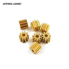 102a engrenagem de cobre 0.5 m 10 dentes 2mm (1.95mm) buraco pinhão peças metal engrenagens 10 pçs/lote