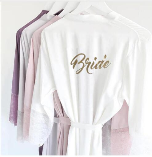 R18 Sexy Satin Lace Trim Kimono Bridal Robes Gold Glitter Bride Bridesmaid Nightwear Nightgown dress Party Sleepwear for Women