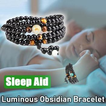 1PC Natural Stone Black Obsidian Magnetic Therapy Bracelet Weight Loss Unisex Slimmy Health Care Bracelet