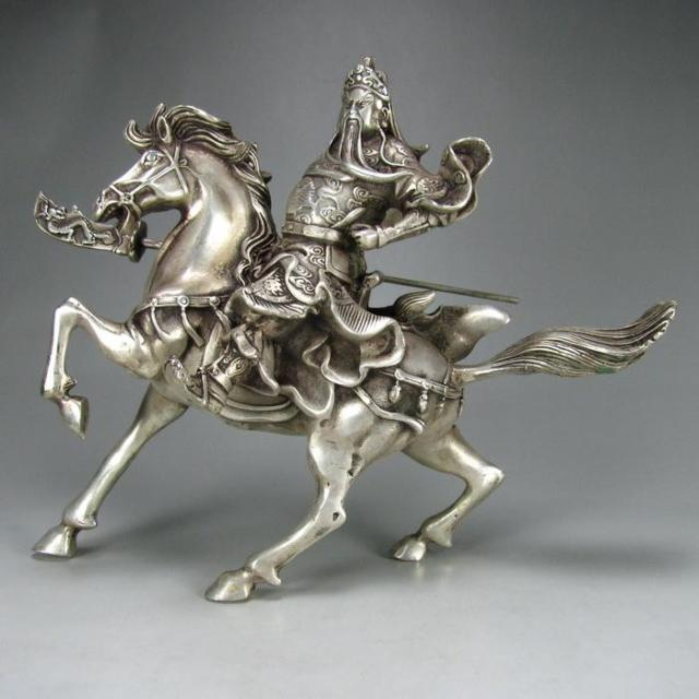 Collectable Tibet Silver Warrior God Guan Yu Statue Figurines & Statues