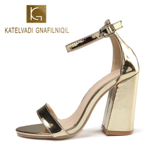 KATELVADI 10CM High Sandals Shoes Woman Gold Patent PU Leather Wimens Summer Party Zapatos De Mujer K-330