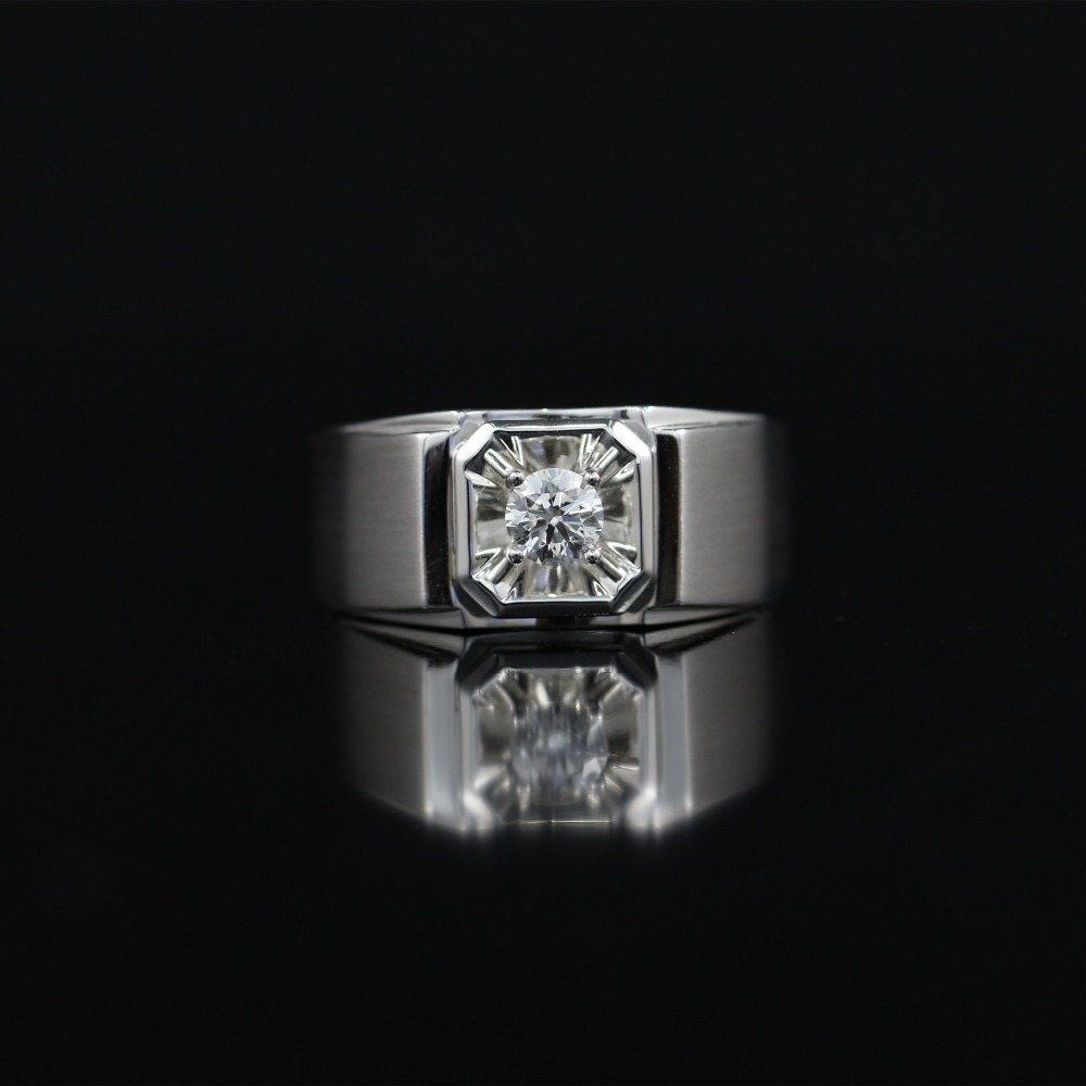 LASAMERO Rings for Men 0.307CT Round Cut Natural Diamond Ring 18k White Gold Engagement Wedding Ring yoursfs 18k white gold plated austria crystal soliraire anniverary rings with princess cut