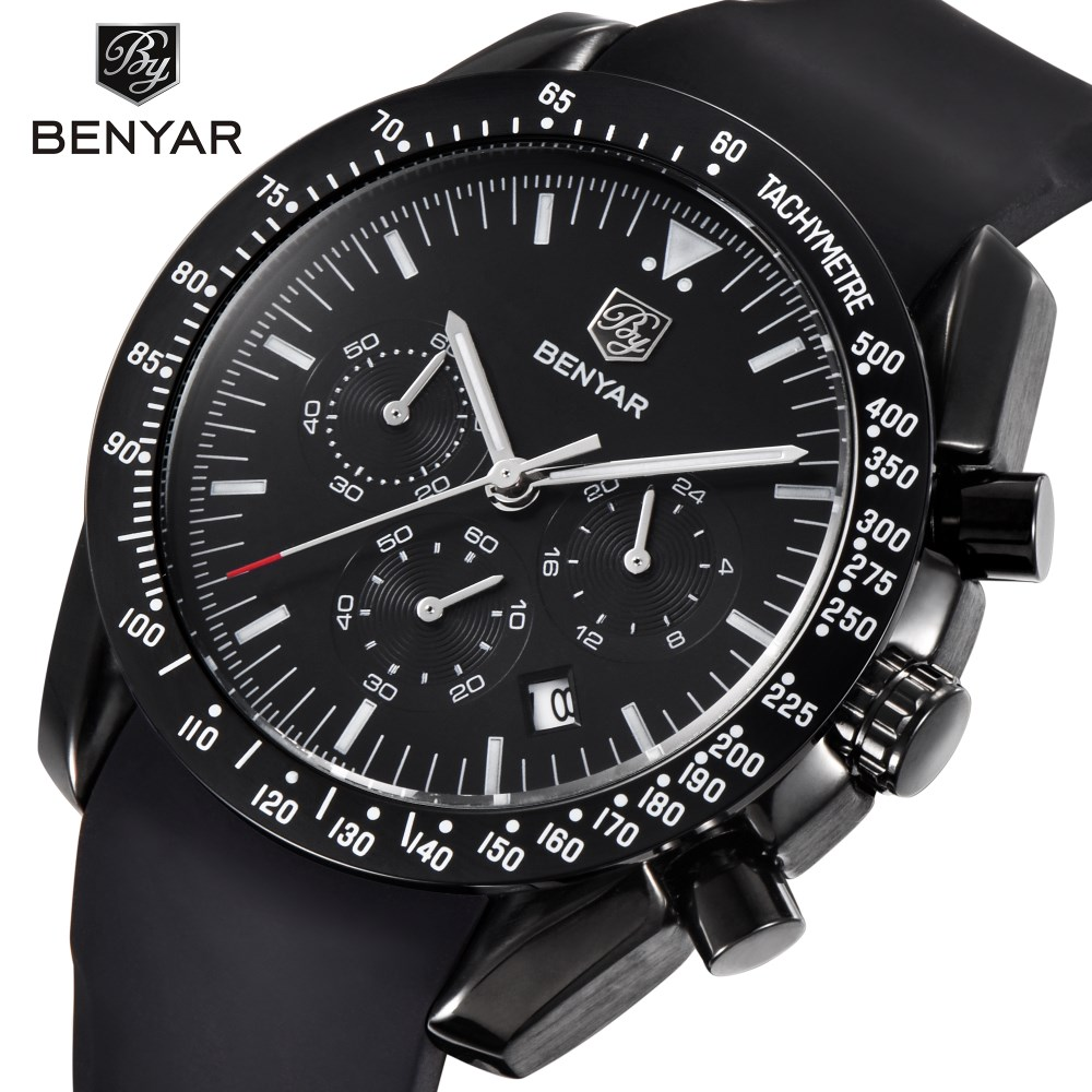 BENYAR Brand Fashion Men Watch Luxury Male Silicone Sport Waterproof Chronograph Quartz Military Black Watches Reloj Hombre S