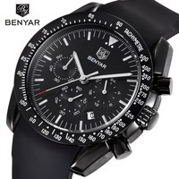 BENYAR Brand Fashion Men Watch Luxury Male Silicone Sport Waterproof Chronograph Quartz Military Black Watches Reloj Hombre S