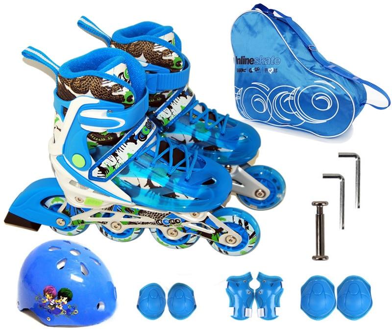 цена  Children Teenagers Ice Skate Skating Shoes Helmet Protective Gear Sets Knee Protector Bag Adjustable Washable Flash wheels  онлайн в 2017 году