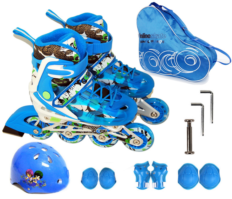Children Teenagers Inline Ice Skate Shoes Helmet Protective Gear Sets Knee Protector Bag Adjustable Washable Flash wheels new kids children professional inline skates skating shoes adjustable washable flash wheels sets helmet protector knee pads gear