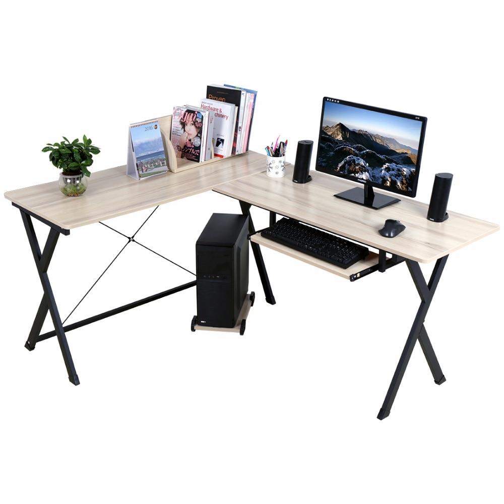 L Shaped Corner Desk Computer Workstation Home Office: L Shaped Computer Workstation Corner Desk Set With Book