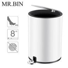 MR. BIN ZERO Foot Pedal Trash Can Nordic Simple Dustbin White Minimalism Carbon Steel Waste Bin Home & Office Trash Garbage Bin bin feng