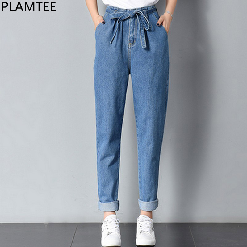PLAMTEE High Waist Jeans Women Bandage Cuffs Harem Denim ...
