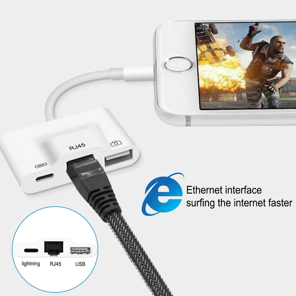 Adapter For Lightning to RJ45 Ethernet LAN Wired Network with USB 3.0 OTG Digital Camera Reader Converter For iPhone X/XR/XS/8/7