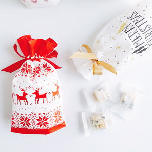 Image 5 - 10pcs Golden Christmas Tree Gift Bags Biscuit Plastic Cake Drawstring Bag for Xmas Party Home Decoration bolsas regalo navidad