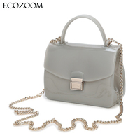 Fresh Waterproof PVC Ladies Mini Chain Jelly Bag Women Transparent Candy Color Small Flap Bag Teenage