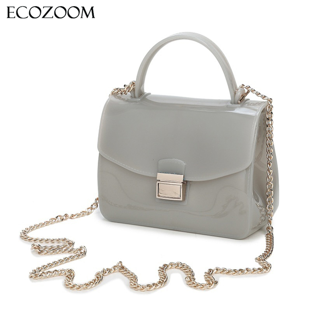 fe92508de2 PVC Ladies Mini Chain Silicon jelly spring summer Women Transparent Candy  ColorFlap Bag Teenage Girl Crossbody