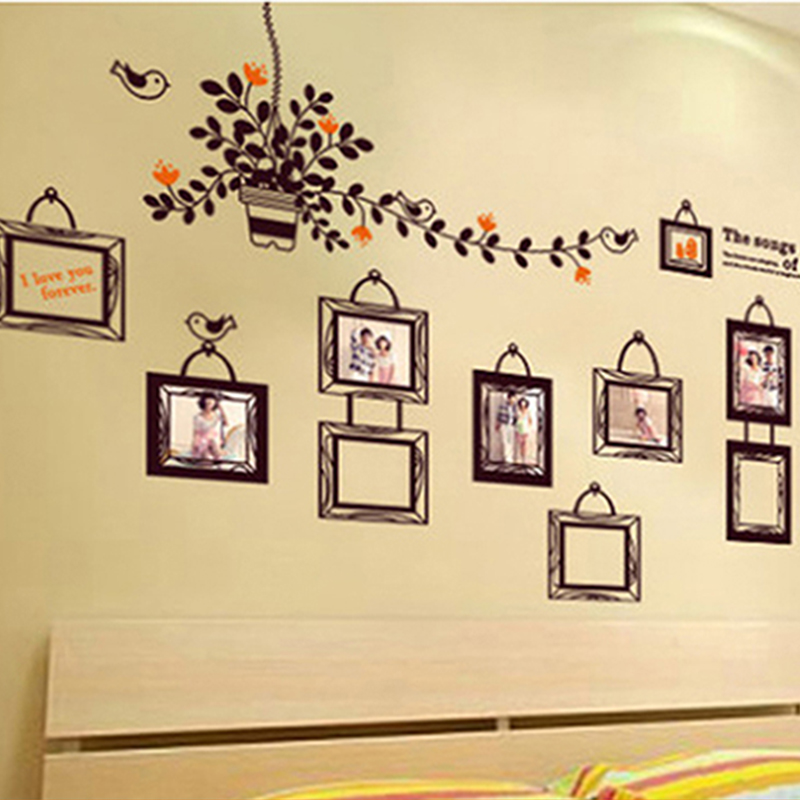 Buy photo frame wall sticker living room for Bedroom wall frames