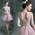 Fashion Beaded Sparkly Lace Applqieus V Neck Sleeveless Pink Ball Gown Short Prom Party Dress Formal Gown Robe De Cocktail GD188