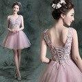 Moda Frisado Sparkly Lace Applqieus V Neck Mangas Rosa Bola vestido curto prom party dress vestido formal robe de cocktail GD188