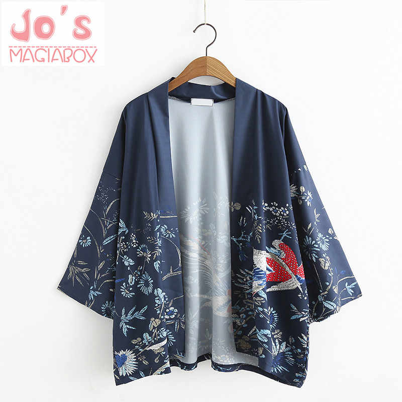 490d428ace5 2017 Phoenix Birds Printed Japanese Kimono Cardigan stain Female Blouse  Women Shirt Jiu Jitsu Harajuku Kimono