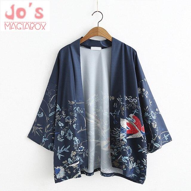 6dc419ab1a 2017 Phoenix pájaros impreso Cardigan Kimono japonés mancha mujeres blusa  femenina camisa Jiu Jitsu Harajuku Kimono