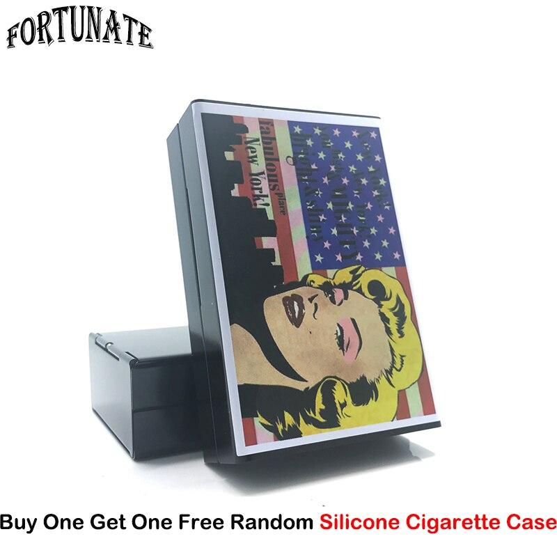New Beauty Marilyn Sticker Monroe Aluminum Alloy Cigarette Box Metal Cigarette Case Sigarette Case Cigarette Cover Storage Box