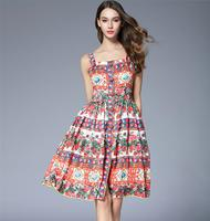 High Quality 2017 Runway Dress Rose Floral Print Women Dress Summer Style Spaghetti Strap Single Breasted