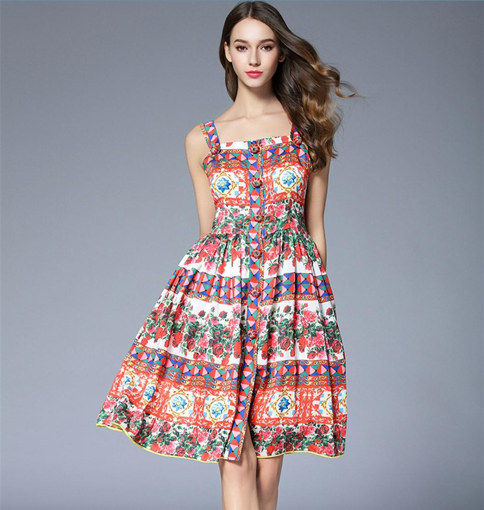 High Quality 2018 Kleider Runway Dress Rose Floral Print Women Dress Summer Style Diamond Beaded Party