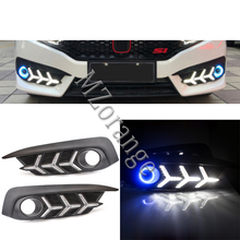 цена на 1 Pair Daytime Running Light For Honda Civic 10th 2016 2017 2018 Accessories Angel Eye With Front Fog Lamp Car-styling LED DRL