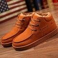 Мужчины зима снег сапоги случайные тепловые мужчины кожаные сапоги хлопка обувь скольжению низкие ботинки неподдельной кожи людей обувь