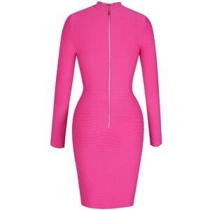 Image 5 - 鹿の女性の 2019 セクシーな包帯ドレス夏新着女性の包帯ボディコンドレス長袖ホットピンク包帯ドレスクラブパーティー