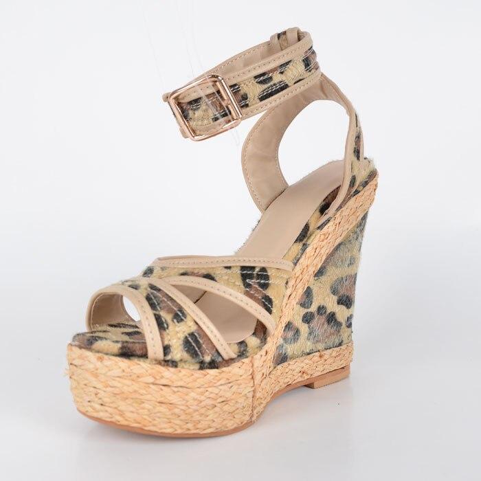 Light Brown Leopard Wedge Sandals For Women Platform New Women Wedge Heel Sandals Sandal Ankle Strap Open Toe 2015 Shoes Women