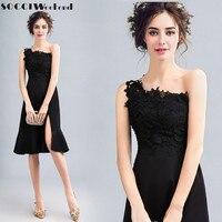 SOCCI 2017 Black Lace One Shoulder Short Prom Dresses Lace Appliques Zipper Back Knee Length Split