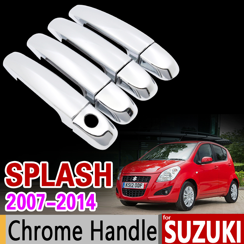 for Suzuki Splash 2007 -2014 Chrome Handle Cover Trim Set of 4Door 2008 2009 2010 2011 2012 2013 Accessories Sticker Car Styling nitro triple chrome plated abs mirror 4 door handle cover combo