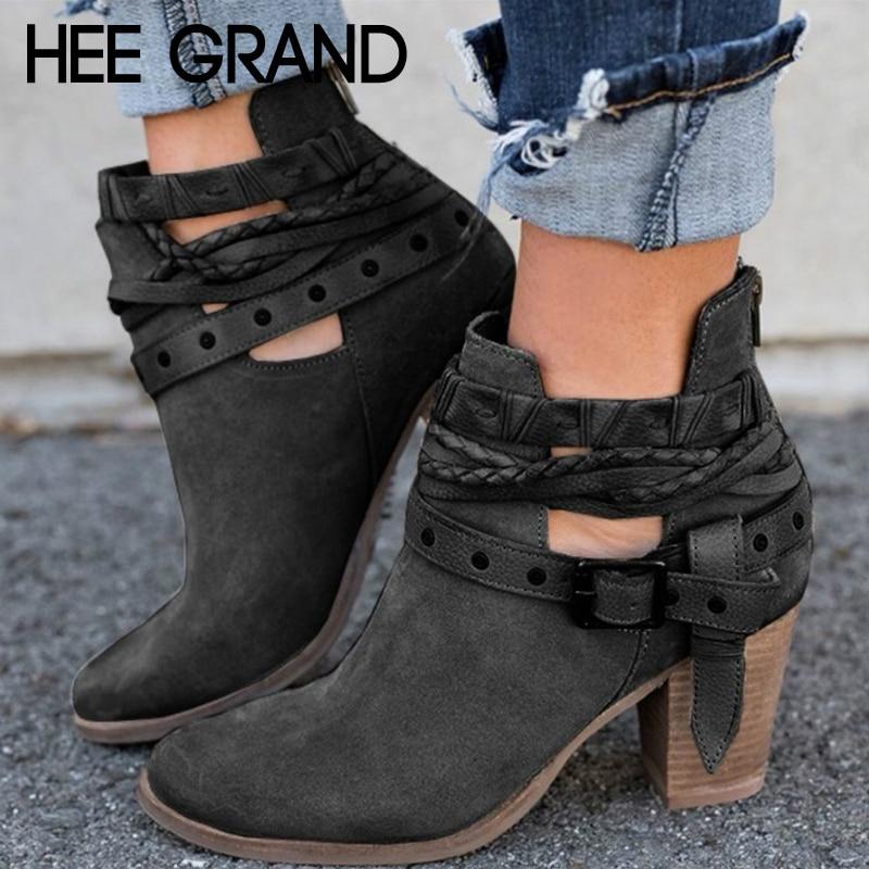 HEE gran hebilla de la correa de tobillo para las mujeres botas de plataforma Casual zapatos de mujer Zapatos de tacón alto botas deslizamiento en invierno zapatos de mujer Zapatos XWX6884