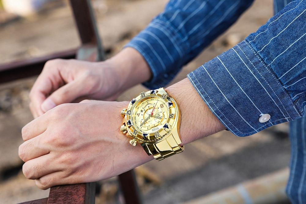 19 Top Brand Luxury Mens Oversize Watch Gold Business Steel Quartz Clock Waterproof Sport Military Chronograph Male Wristwatch 39