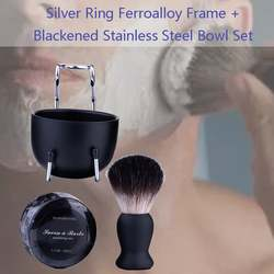 Серебряное кольцо типа Железный сплав рама + черная чаша из нержавеющей стали набор портативная полка для мыла миска