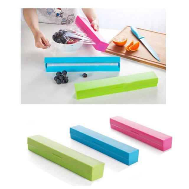 Plastic Wrap Cling Film Cutter Stainless Steel Blade Kitchen Foil Cling  Film Wrap Dispenser Cutter Storage