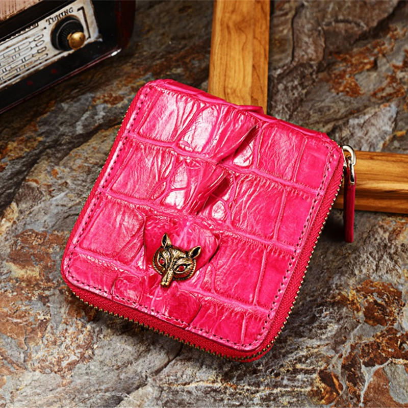 100 Genuine Alligator Leather Women s Hot Pink Short Card Wallet Exotic Crocodile Skin Ladies Female