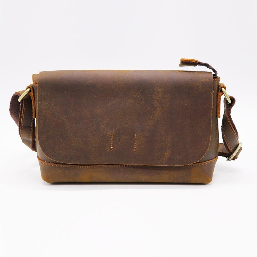 Genuine Crazy Horse Leather Men Cross Body Shoulder Bag Cowhide Women Messenger Bag Satchel Pack For