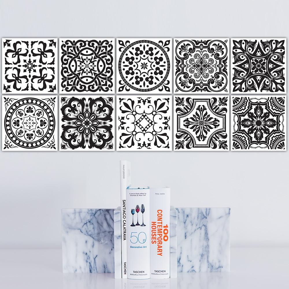 Waterproof Wall Sticker Retro Tile Tiles Stickers Bathroom Bathroom  Removable Wall Stickers Diy Poster Stickers(